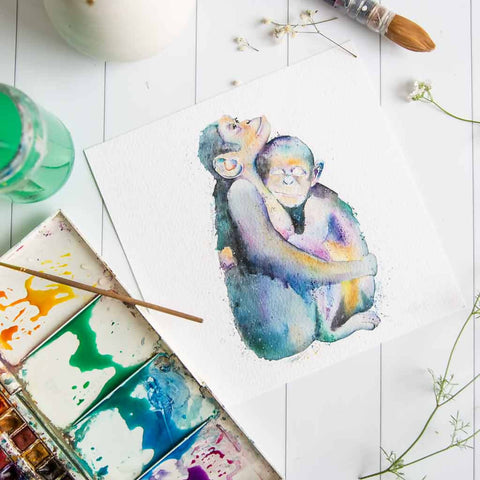 Chimpanzee cuddle watercolour artwork print
