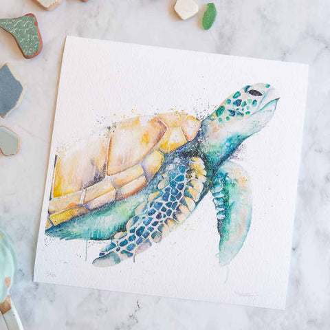 Oil Green Turtle Print by Stephanie Elizabeth Artwork