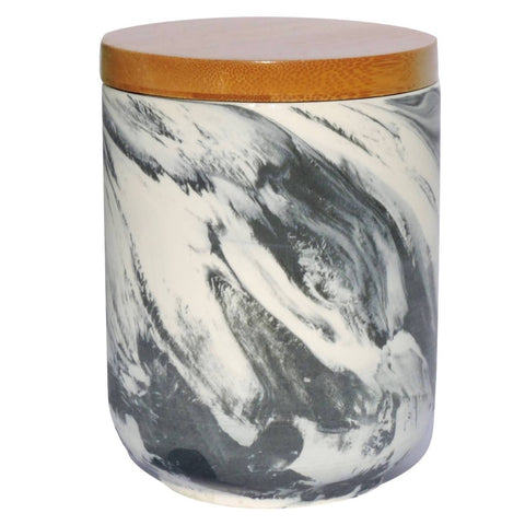 Hand Made Soy Wood Wick Candle Marble Look - Bergamot & Teakwood