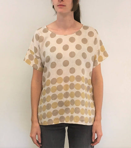 Linen top hand printed and dyed by Sylvia Riley