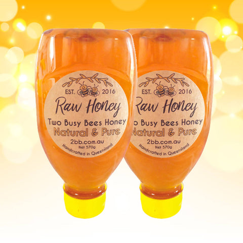 NATURAL PURE HONEY SQUEEZE BOTTLES - SET OF TWO - 570G EACH