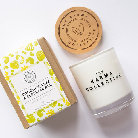 Coconut, Lime & Elderflower Soy Wax Scented Candle Large