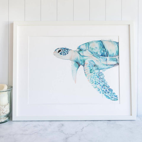 Framed Blue Green Sea turtle Oil Painting by Stephanie Elizabeth Artwork