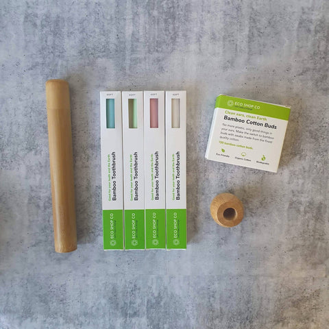 Eco Saver Set | Bamboo Toothbrush, Case & Cover | Bamboo Cotton Buds | Free Shipping
