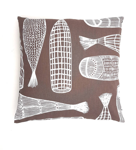 Cushion Cover, Hand-printed Fabric, Aboriginal Design, Fish Traps, Ladies, Injalak Arts, Brown