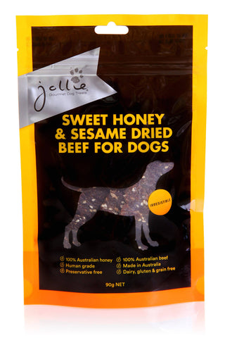 Sweet Honey & Sesame Dried Beef for Dogs 90g Pouch