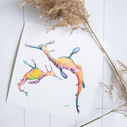 Leafy sea dragons watercolour print