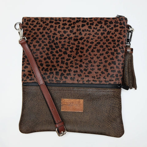 NIGHT LEOPARD BUCKET BAG - DARK TAN