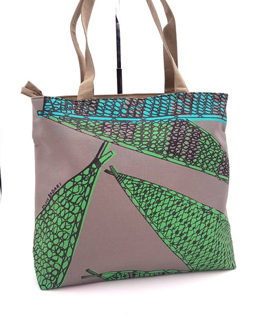 Frida Tote Bag, Walabi (Fish Nets) Design Khaki