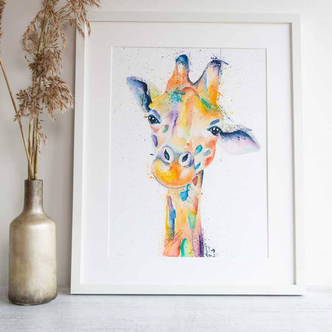 Framed Rainbow Giraffe artwork by Stephanie Elizabeth Artwork