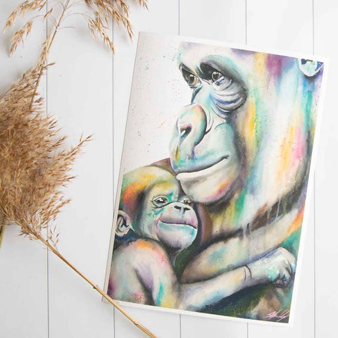 Mum and baby gorillas watercolour print by Stephanie Elizabeth Artwork