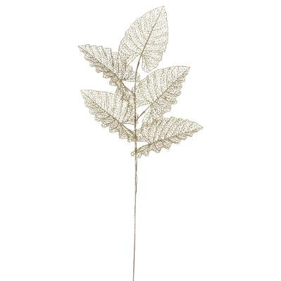 BRANCHE DECORATIVE 5 FEUILLES AJOUREES EN METAL PAILLETE H 80 CM