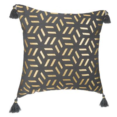 HOUSSE COUSSIN GRISE GEOMETRIE OR 40X40