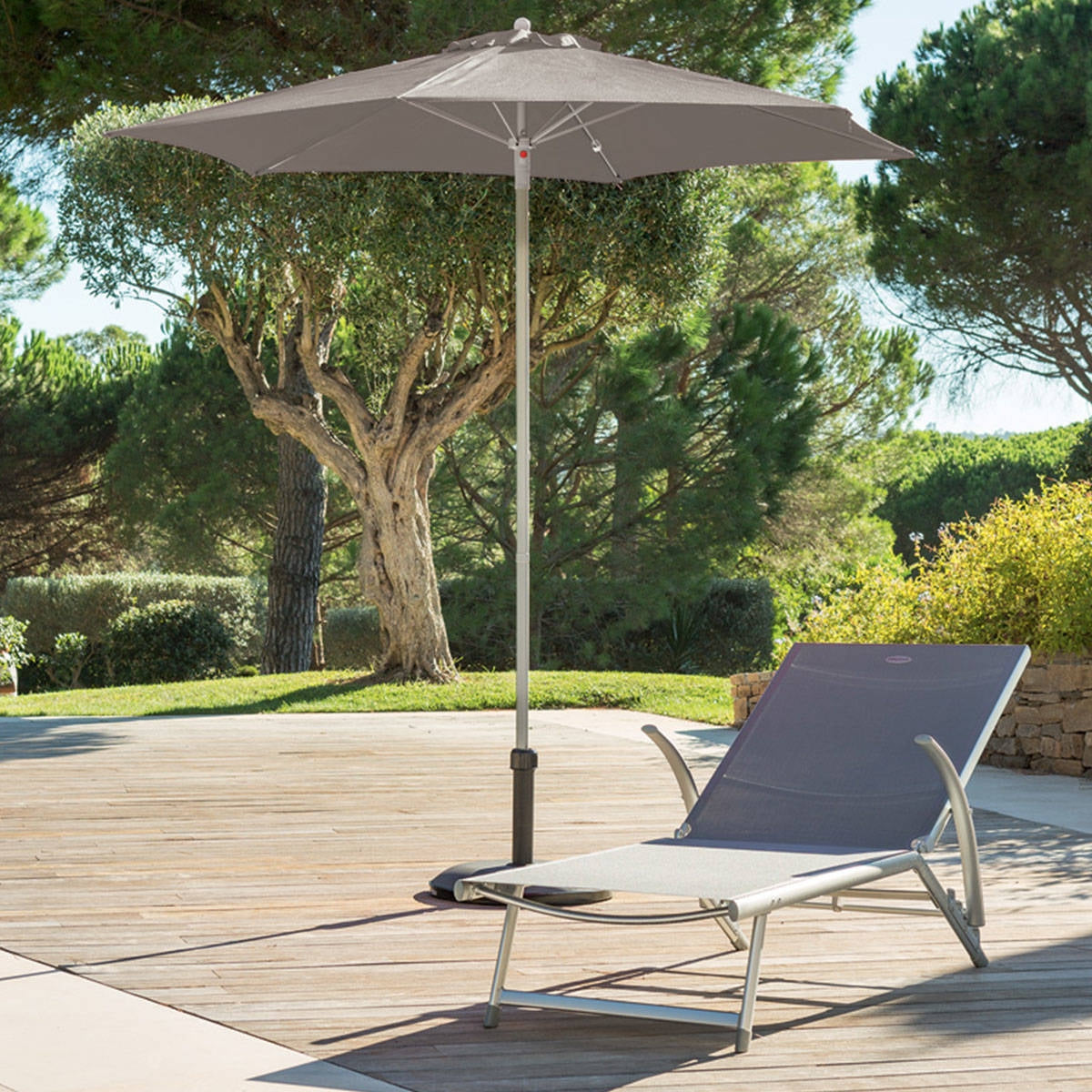 PARASOL DROIT ROND ANZIO TAUPE HESPERIDE