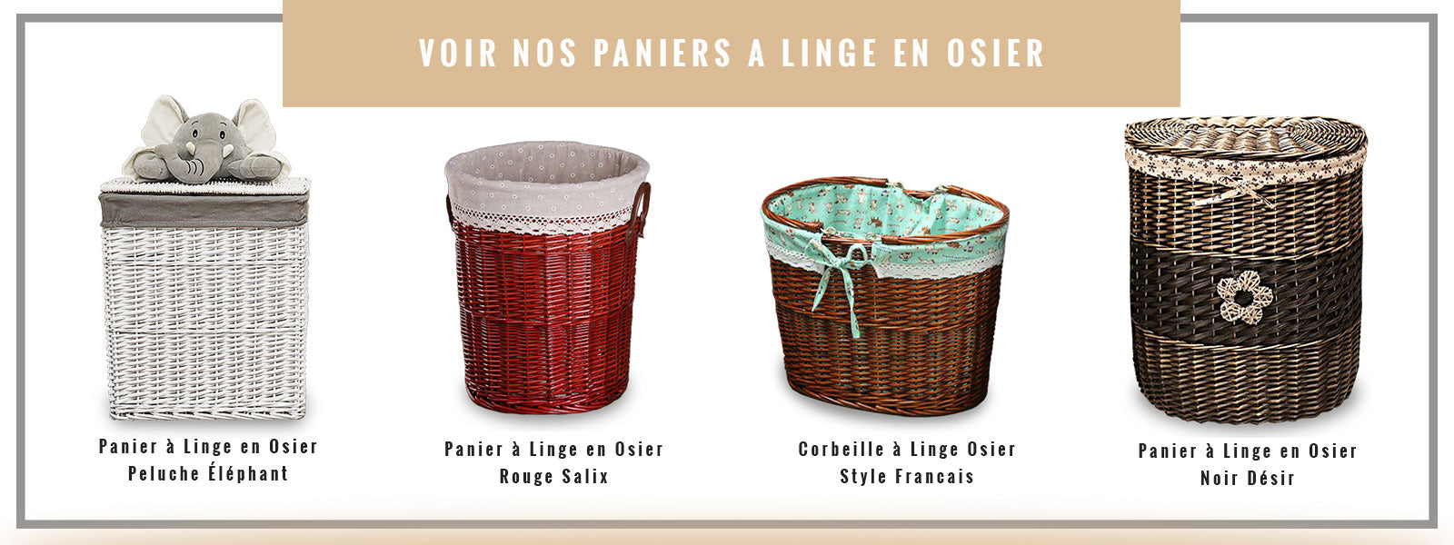 bannière de collection paniers à linge en osier
