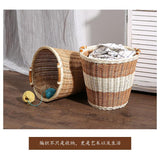 KENS home rattan toy storage basket large trash can dirty clothes basket flower pot cover French bread basket