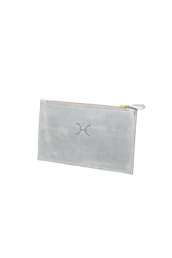 Thandana - Double Gold Zip Pouch Purse Leather