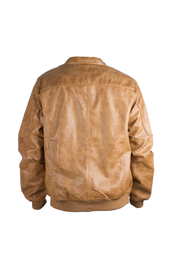 Faux Leather Brown Bomber Jacket