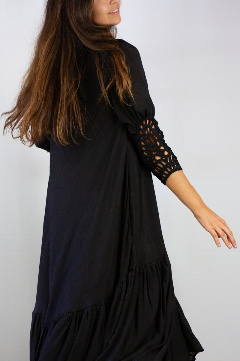 Embroidered Sleeve Maxi