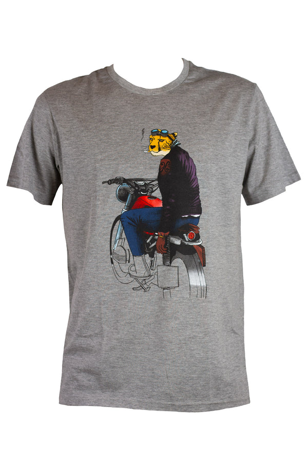 Dirty Grey Smoking Cheetah Tee