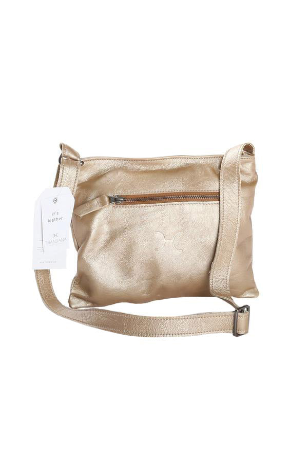 Mini Messenger Handbag Metallic Leather