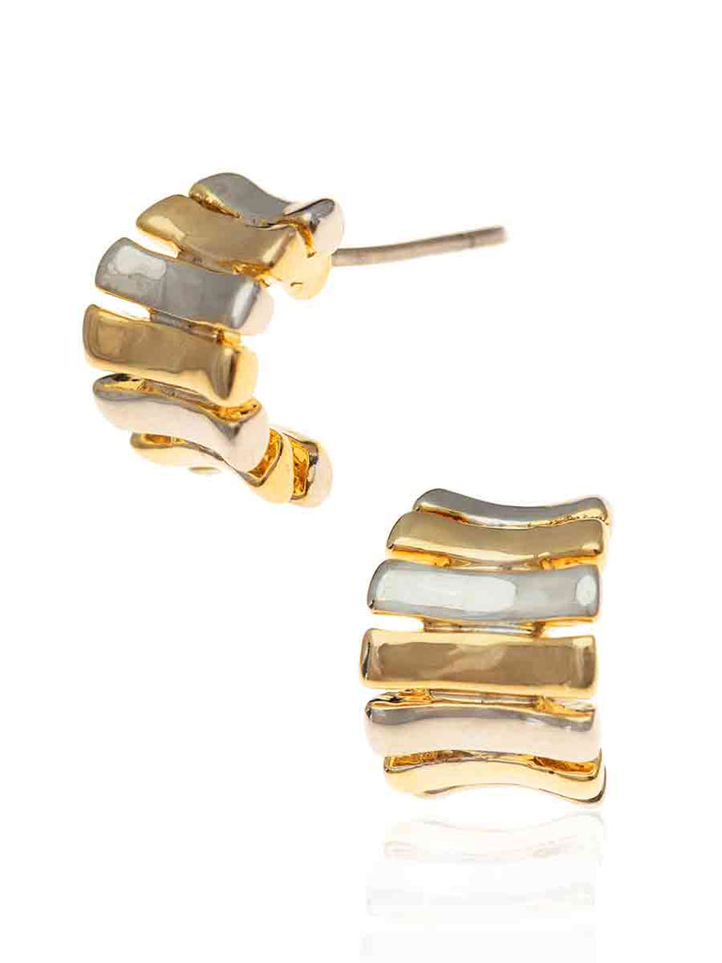 Tifawt Jewellery - Earrings Two Tone Huggie
