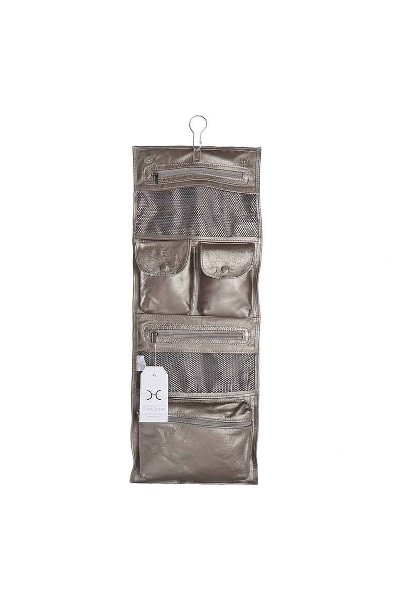 Roll Up Toiletry Metallic Leather
