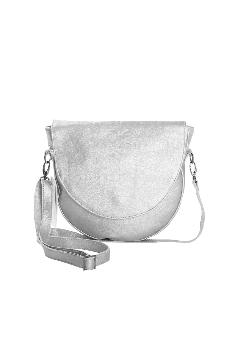 Saddle Handbag Metallic Leather