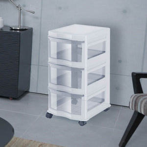 Life Story Classic 3 Shelf Standing Plastic Storage Organizer and Drawers