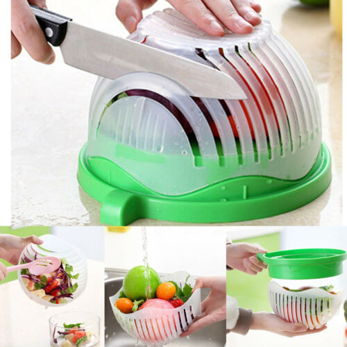 SALAD CUTTER BOWL Fruit Vegetable Food Chopper Slicer Drainer Multifunctional