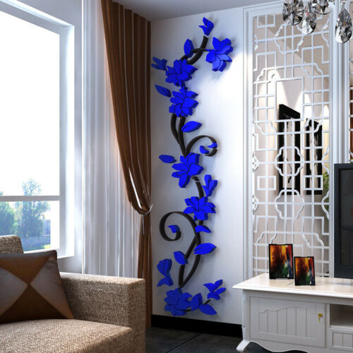 DIY ACRYLIC FLOWER DECAL DECOR 3D WALL STICKER