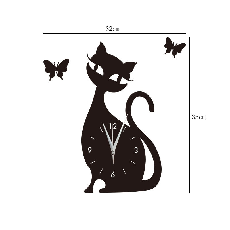 Era 3D DIY Acrylic Mirror Wall Clock Digital Cat & Butterflies