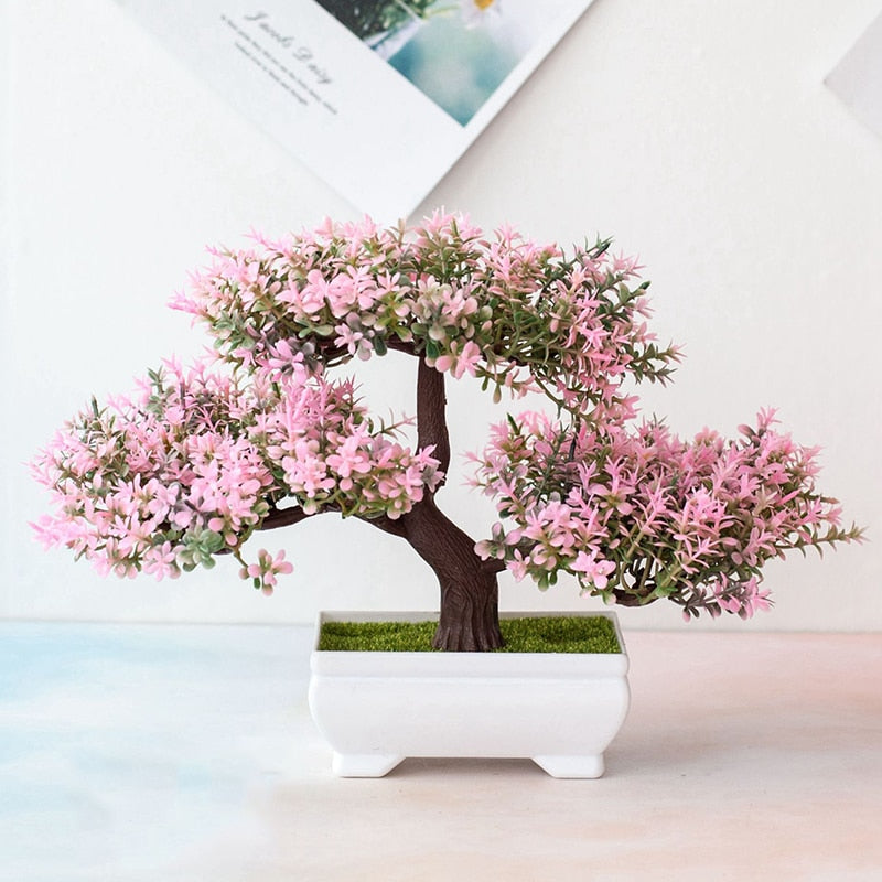 Pink Pine Bonsai Mini Flowering Tree Pot