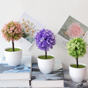 Artificial Potted Flower Plant Topiary Ball Tree