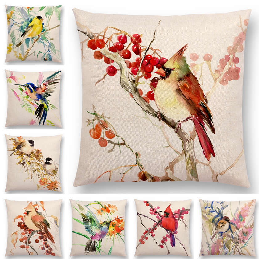 Era Watercolour Birds Series Cushion Cover