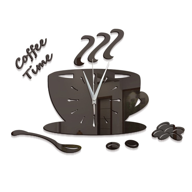 Era New 3D DIY Coffee Cup Wall Clock