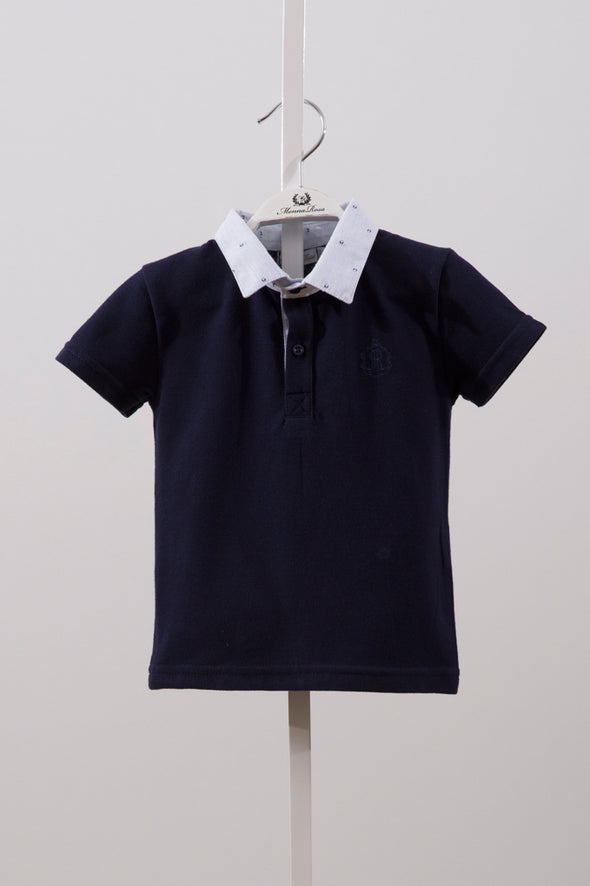 CONTRAST COLLAR SHIRT_NAVY BLUE