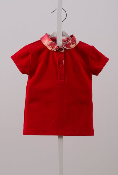 CONTRAST COLLAR SHIRT-POMEGRANATE