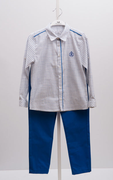 BLUE - CHECKERED SHIRT & PANTS SET