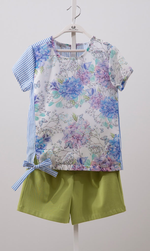 CHIFFON BLOUSE & SHORTS-PURPLE+LEMON