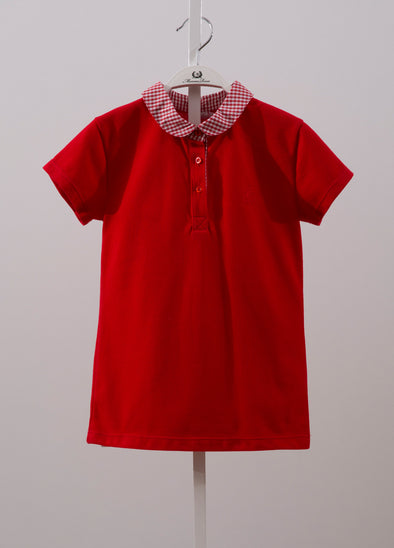 CONTRAST COLLAR SHIRT-RED