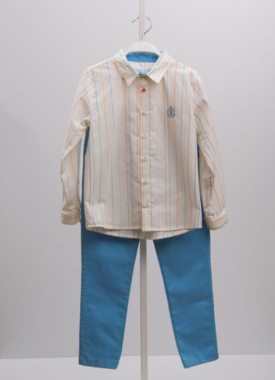 PASTEL STRIPE SHIRT & PANTS SET