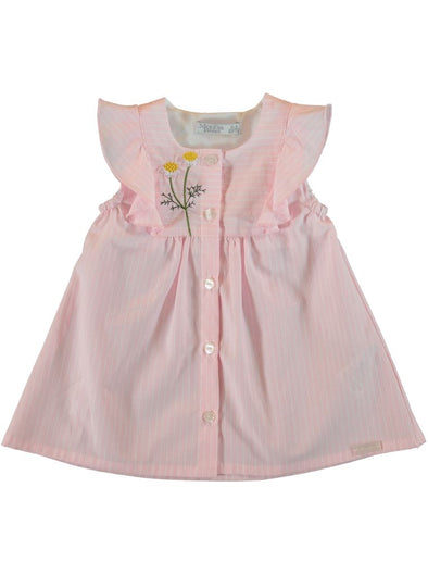 FRILL COTTON DRESS - PINK STRIPES