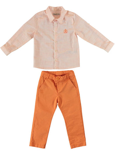 ORANGE SHIRT AND PANTS SET