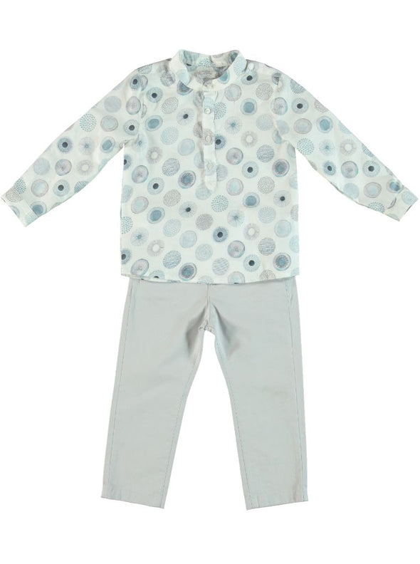 SHIRT & PANTS SET - BLUE CIRCLE PRINT