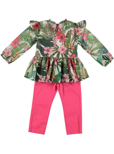 TROPICAL CHIFFON TOP & PANTS