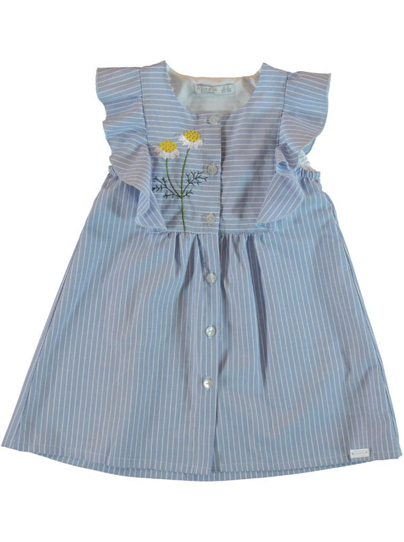 FRILL COTTON DRESS - BLUE STRIPES