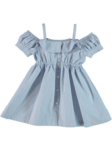 COLD-SHOULDER STRIPE DRESS BLUE