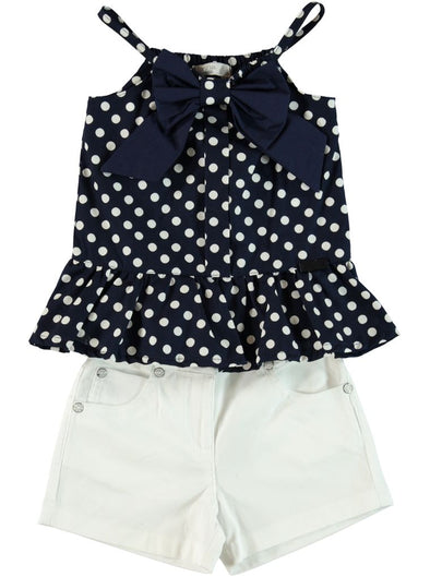 POLKA DOT BLOUSE AND SHORTS SET