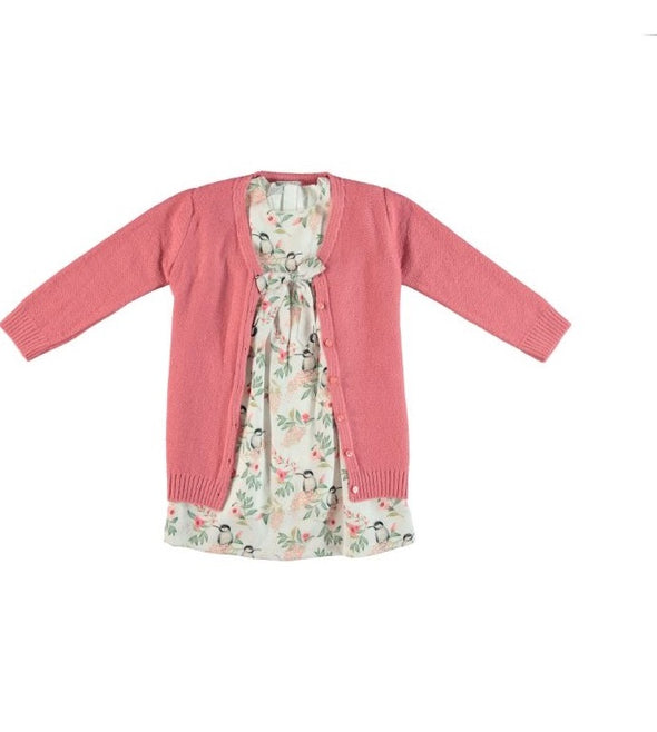 HUMMINGBIRD DRESS & CARDIGAN_PINK